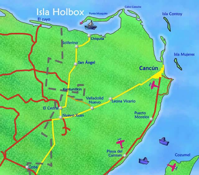 mapa de como llegar a holbox